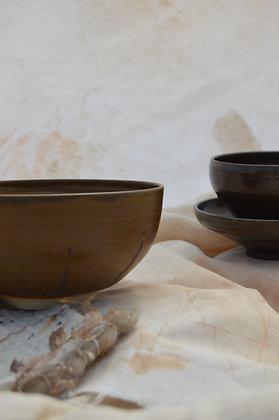 Brown Semi-Matte Pattern Soup Bowl