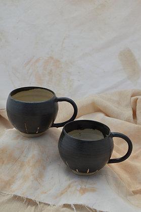 Black Semi-Matte Patterned Mugs