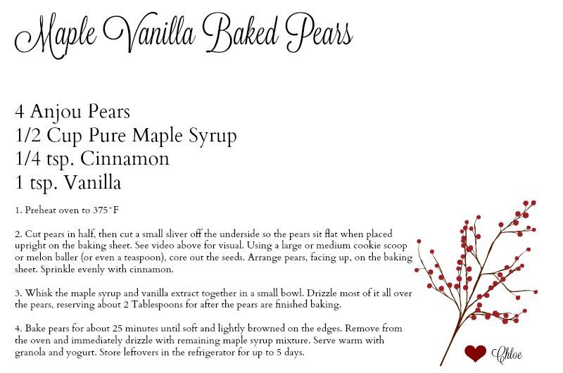 Maple Vanilla Baked Pears