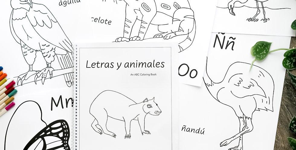 Letras y animales: An ABC Coloring Book
