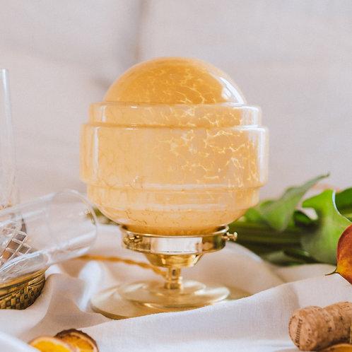 globe de clichy jaune monté en lampe sur pied en laiton et fil doré torsadé
