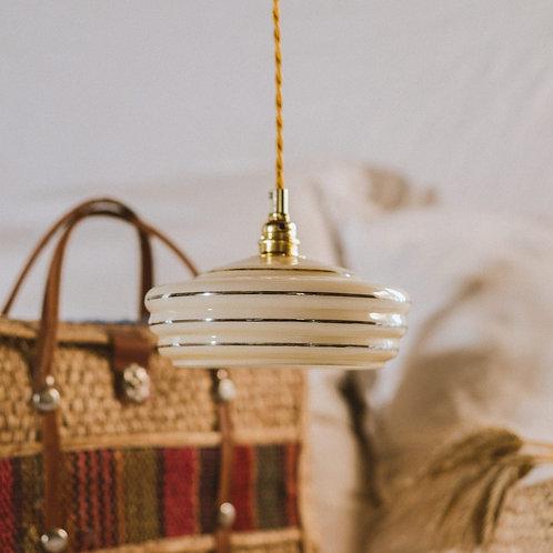 suspension vintage en verre jaune  avec fil électrique torsadé doré