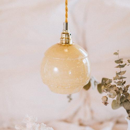 baladeuse ancienne en verre de clichy jaune avec cable électrique torsadé doré