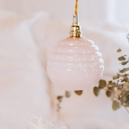 baladeuse boule en verre de clichy rose avec fil électrique doré