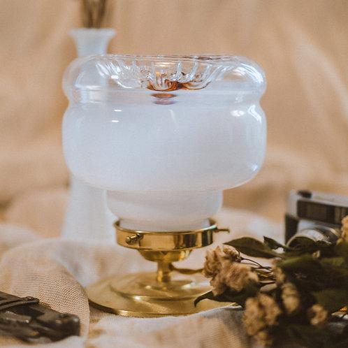 lampe ancienne en verre mazzega de murano sur pied en laiton et cable électrique torsadé doré