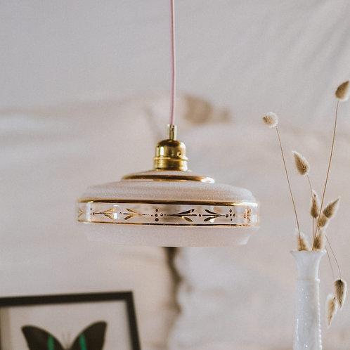 suspension vintage en verre rose avec fil électrique torsadé doré