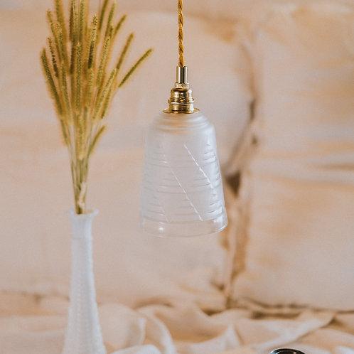 baladeuse ancienne style art déco en verre avec fil électrique torsadé doré