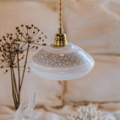 suspension vintage en verre motif craquelé avec fil électrique torsadé doré