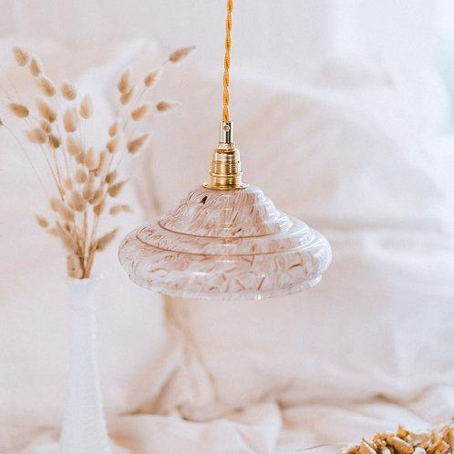 lampe suspension en verre rose et effet marbré avec fil doré