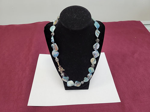 """Stunning Silver & Blue Mohr Necklace.  Approximately 18"""" long 0014"""