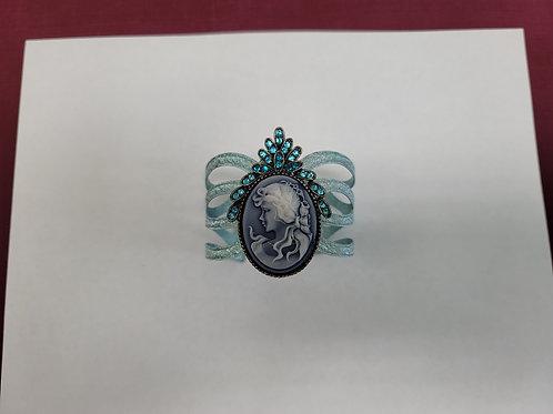 Blue Jeweled Cameo on adjustable Bracelet 0005