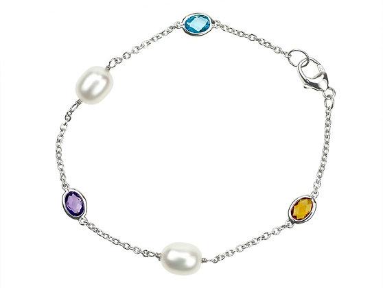 Freshwater Pearl Bracelet with Gemstones