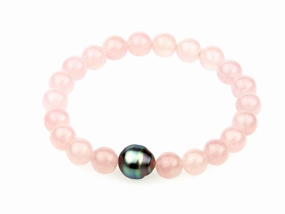 Tahiti Pearl Rose Quartz Bracelet