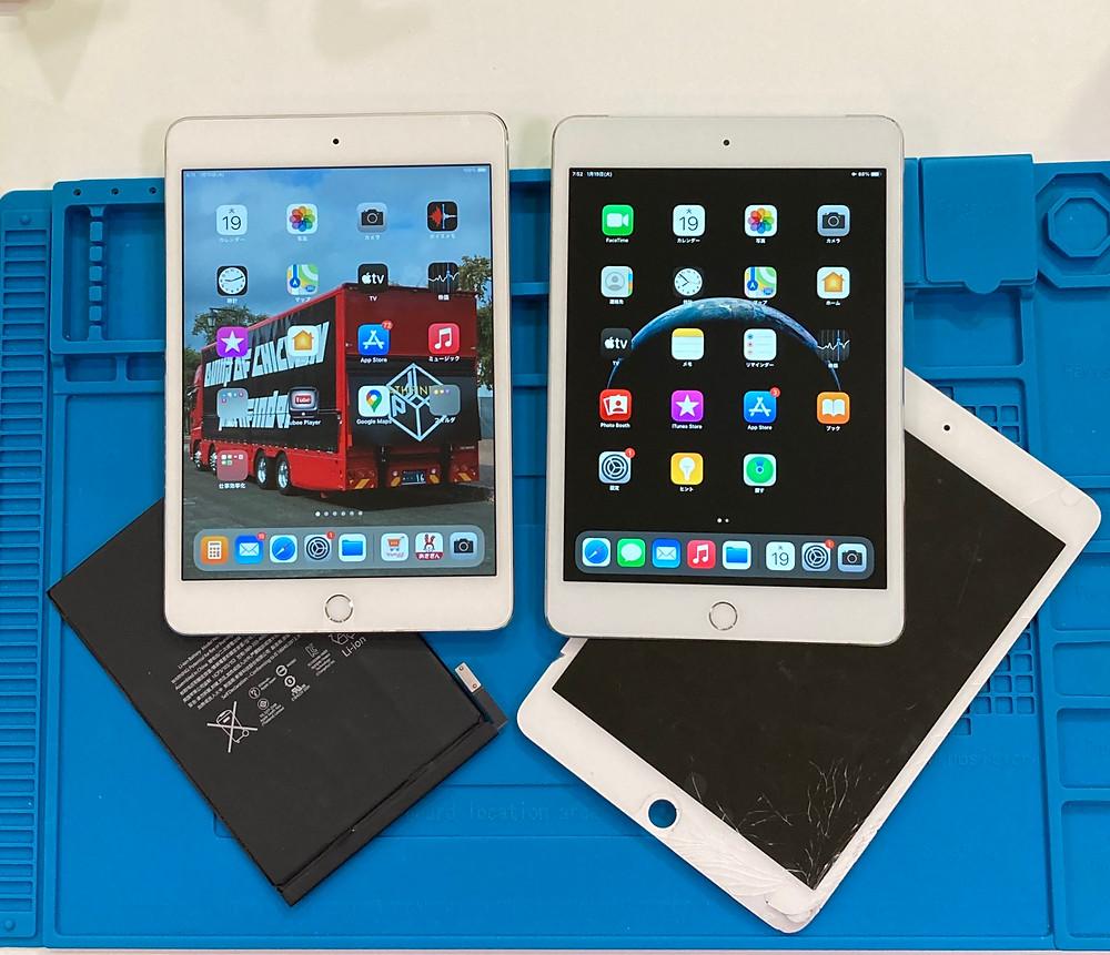iPad mini4 液晶交換修理 バッテリー交換修理 作業時間3時間 データそのまま