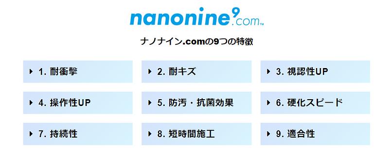 ナノナイン9つの特徴
