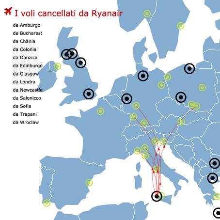 La mappa dei voli cancellati da Ryanair