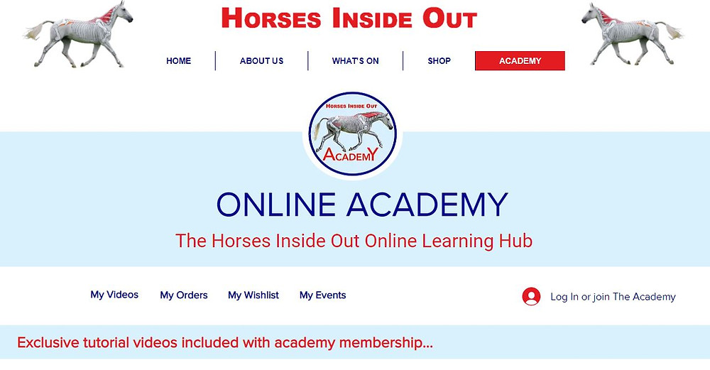 Horses Inside Out online learning hub - academy
