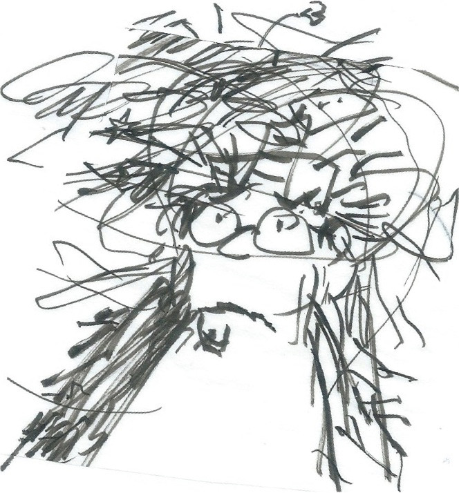 Cartoon sketch of a frowning man in glasses surrounded by a variety of fuzzy lines. Illustration by Earle Levenstein.