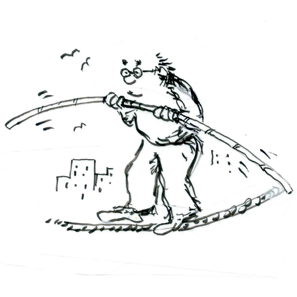 Cartoon sketch of a man in glasses using a long rod to paddle a raft past a city skyline and birds flying in the sky. Illustration by Earle Levenstein.