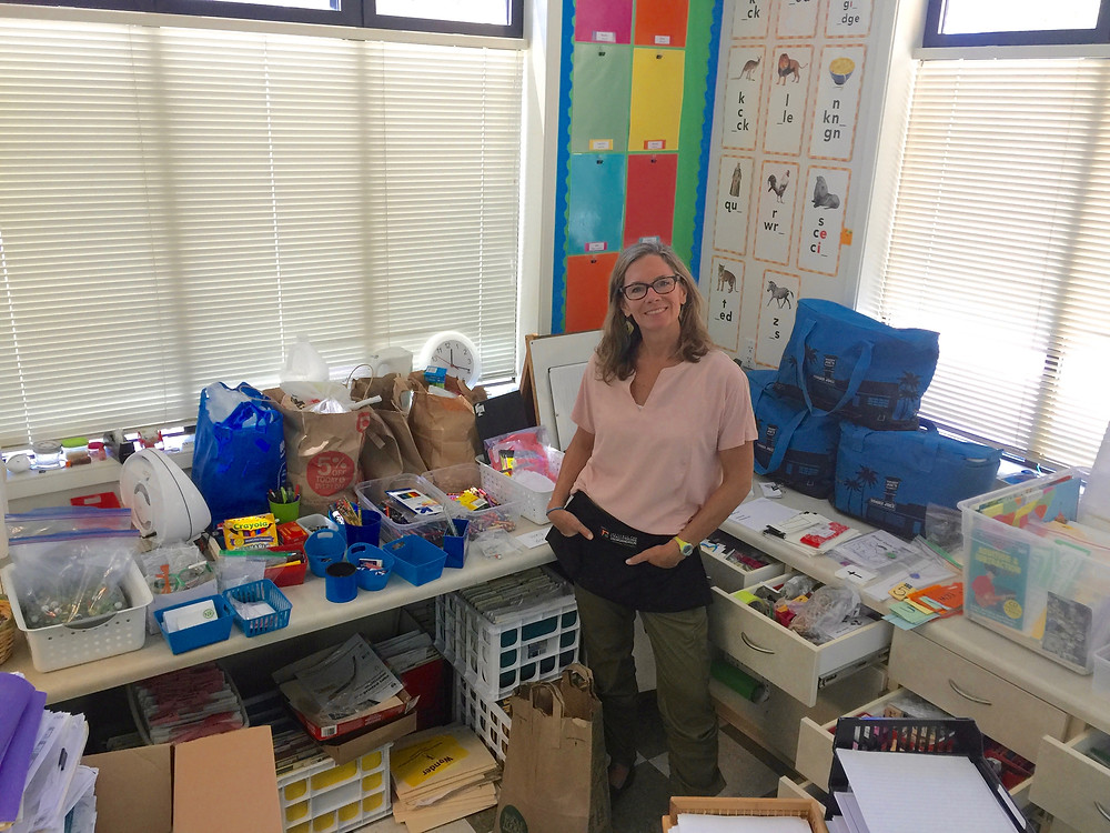 OLWH: Back to School - Organizing a Classroom / Heather surrounded by classroom materials in drawers, bags, and baskets