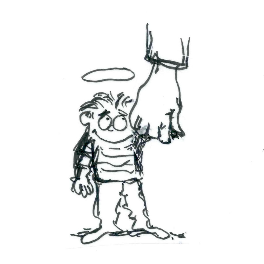 Cartoon sketch of a young boy with a halo above his head, looking up and to the right, at a large hand that is holding his. Illustration by Earle Levenstein.