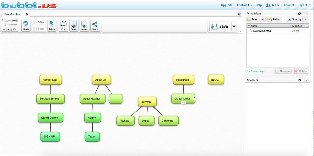 Organize Your Thoughts with Mind Mapping Tools - Bubbl.us Interface