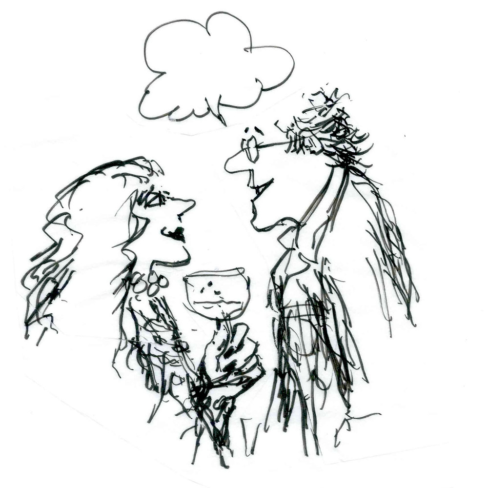 Cartoon sketch of a man talking to a woman. She's holding a wine glass in her hands, and he has a speech bubble above his head, but there are no words inside of it. Illustration by Earle Levenstein.