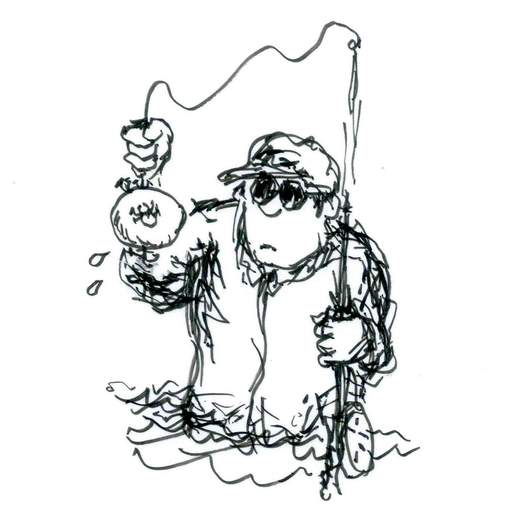 Cartoon sketch of a fisherman standing waist-deep in water with a bagel caught on his line. Illustration by Earle Levenstein.