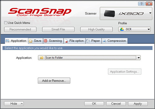 Spring Clean Your Digital Organizing Structure - ScanSnap program interface on Windows with OCR scan to Google Drive profile selected in upper right corner