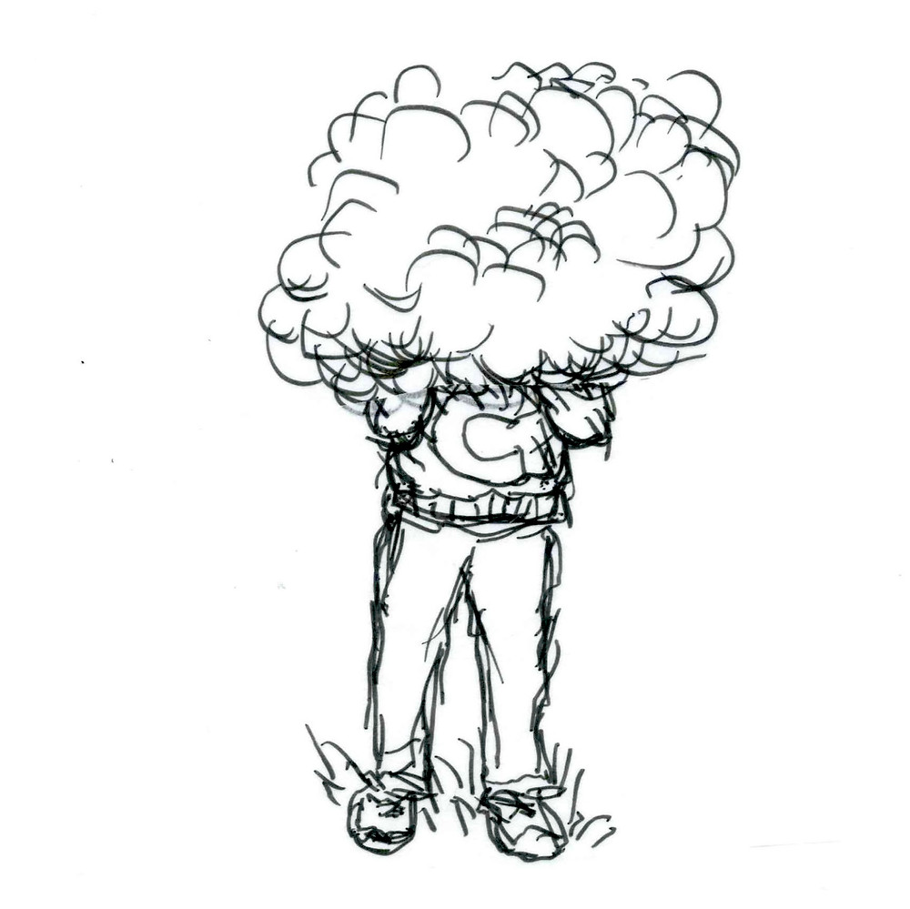 "Sketched cartoon of a person smoking, a cloud of smoke completely obscuring their head, neck, and shoulders. The person is wearing a sweater with the letter ""C"" on it and pants as they stand in the grass. Cartoon by Earle Levenstein."