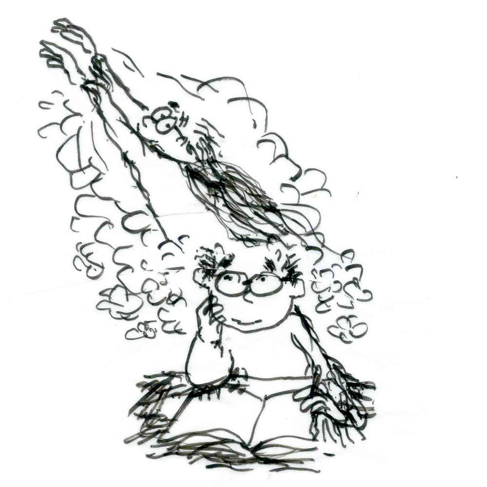 Cartoon sketch of a man in glasses holding one side of his face while he reads a book and looks up and to the left; a version of him wearing a cape and flying off the page surrounded by clouds emerges from his imagination. Sketch by Earle Levenstein.