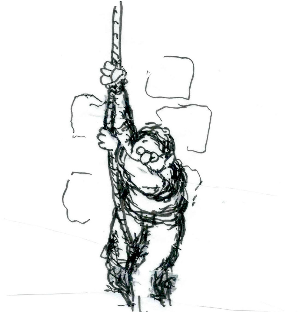 Cartoon sketch of a man in glasses hanging by a rope in front of a wall. He's looking down, with one arm blocking his face. He's gripping the rope tightly. Illustration by Earle Levenstein.