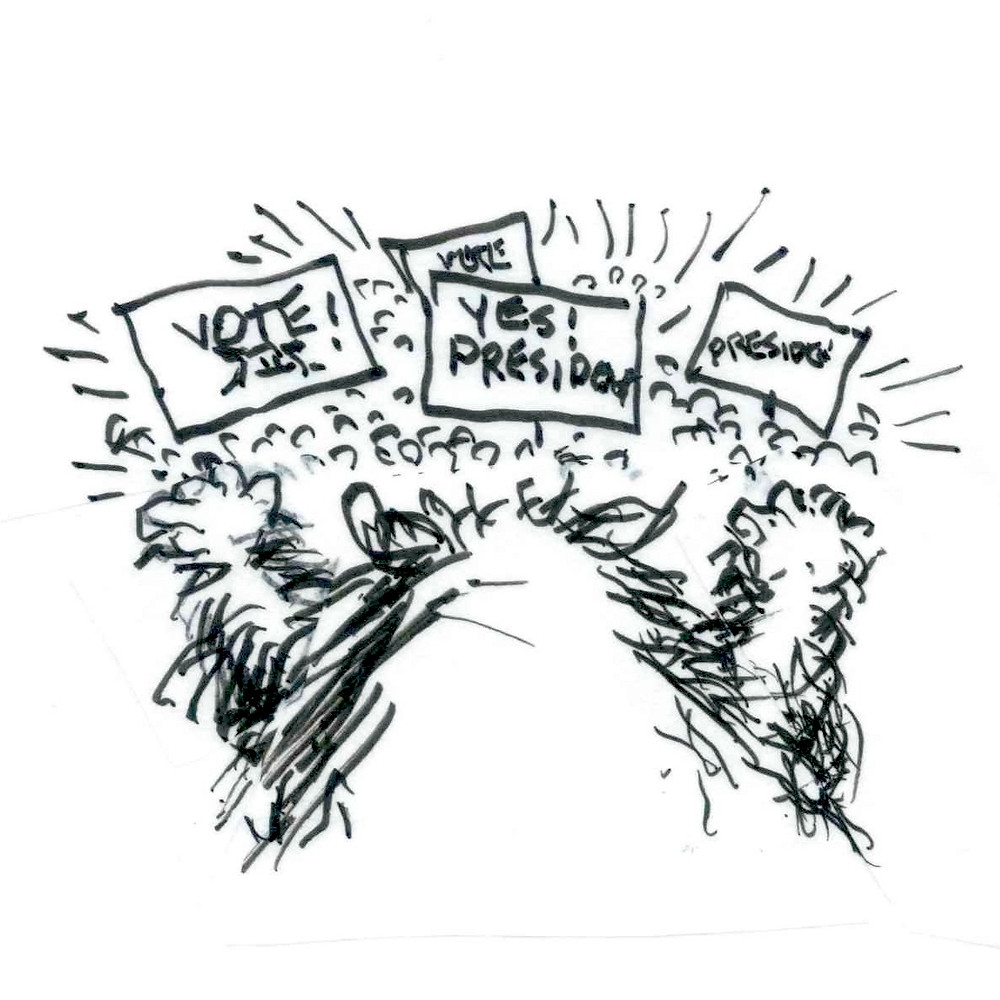 "Cartoon sketch of a dog facing an audience holding up signs that say ""VOTE!"" and ""YES! President!"" Illustration by Earle Levenstein."