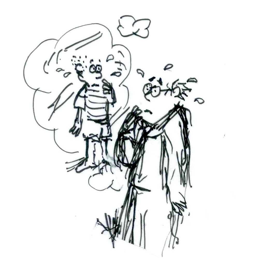 Cartoon illustration of a man stopping to think; in a thought bubble is his younger self also stopping to think. Both of them seem surprised and worried. Sketch by Earle Levenstein.