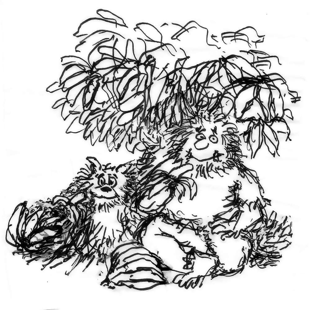Cartoon sketch of a man eating a banana under a tree, with a dog beside him. Illustration by Earle Levenstein.