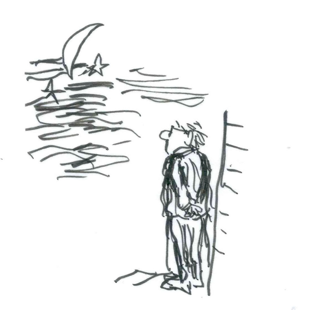 Illustration of a man standing outside a house, staring up at the night sky with a crescent moon and stars. Sketch by Earle Levenstein.
