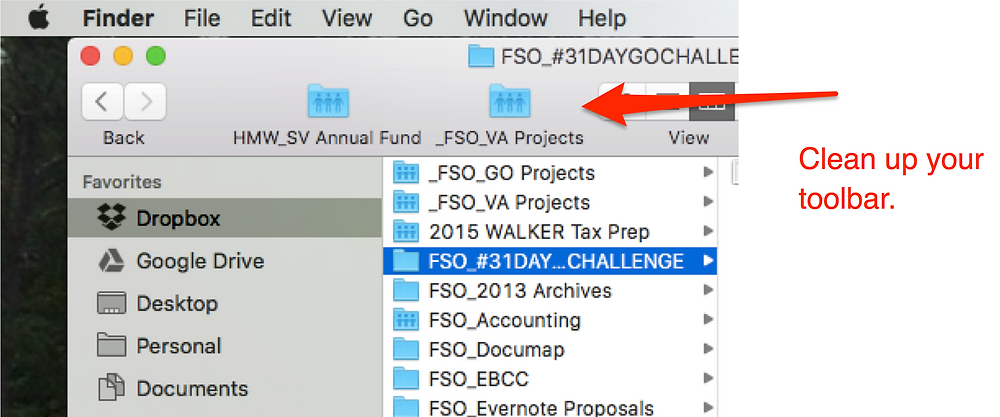 Taste of My Own Medicine: Organizing My Laptop - Customize your Finder Toolbar by adding frequently-used folders to it. Clean up inactive projects or folders you don't frequently access.