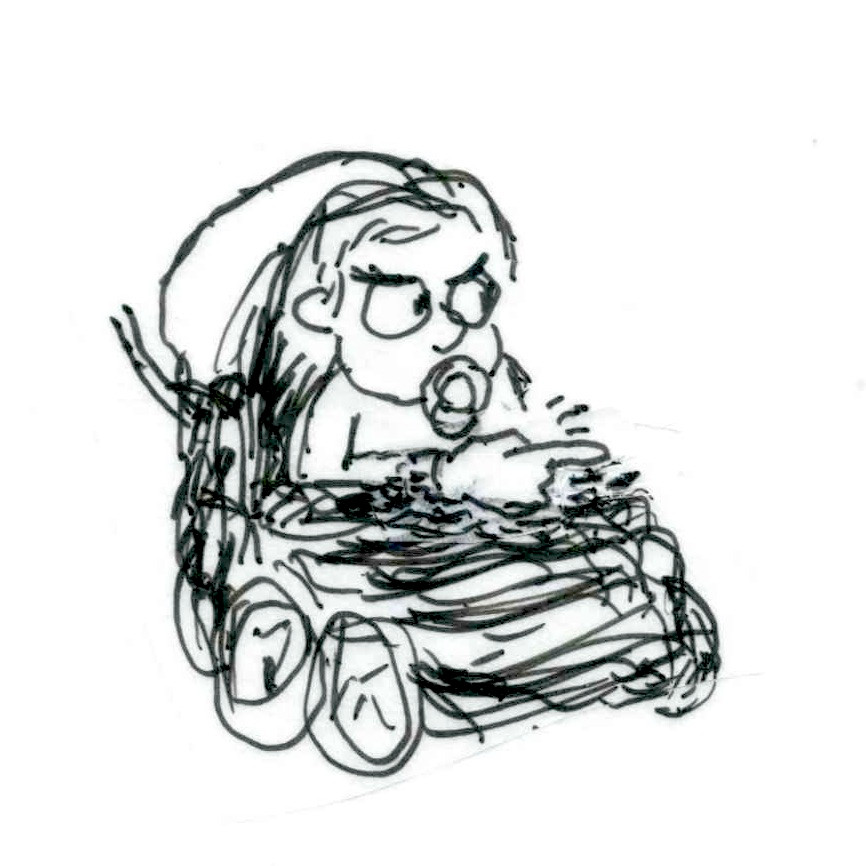 Cartoon sketch of an angry-looking baby with a pacifier in its mouth, sitting in a stroller, glancing off to the right. Cartoon by Earle Levenstein