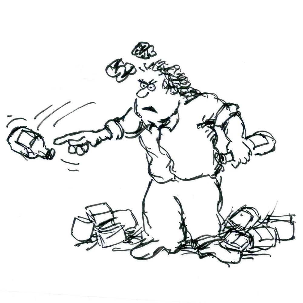 Cartoon sketch of an angry man holding a bottle and throwing another as rolled up balls of paper soar overhead. Warehouse detritus including boxes and more bottles sit at his feet. Illustration by Earle Levenstein.