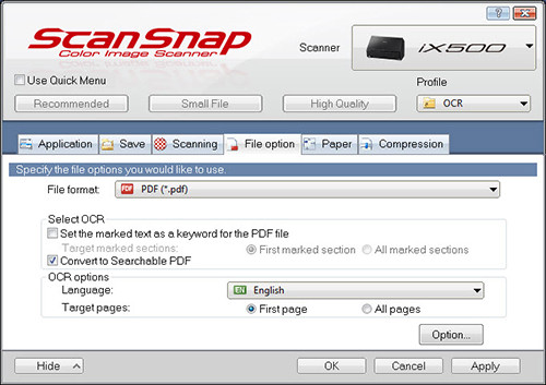 ScanSnap iX500 Save all Pages, Searchable PDF conversation pane in Windows