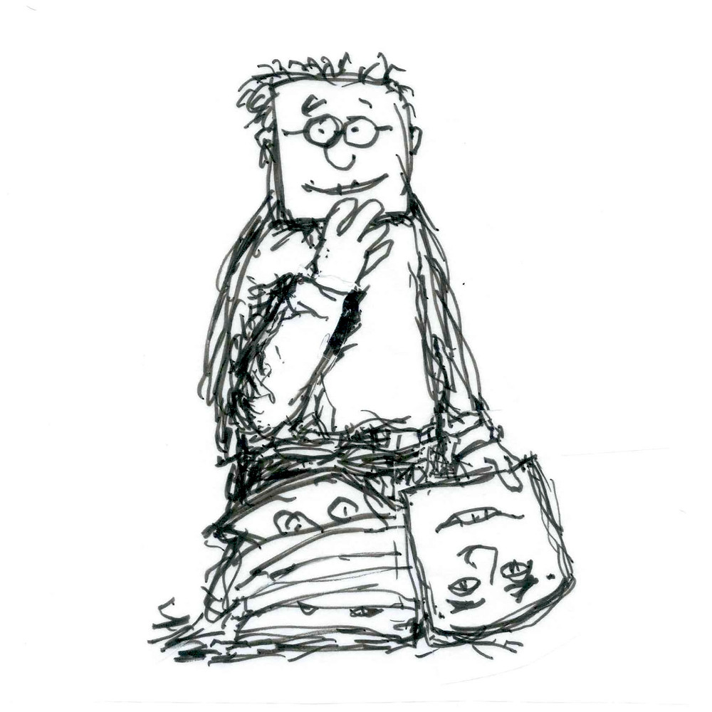 Cartoon sketch of a man holding up a square mask to his face with one hand, while he holds another face in his other hand. A pile of masks sits in front of him. Illustration by Earle Levenstein.