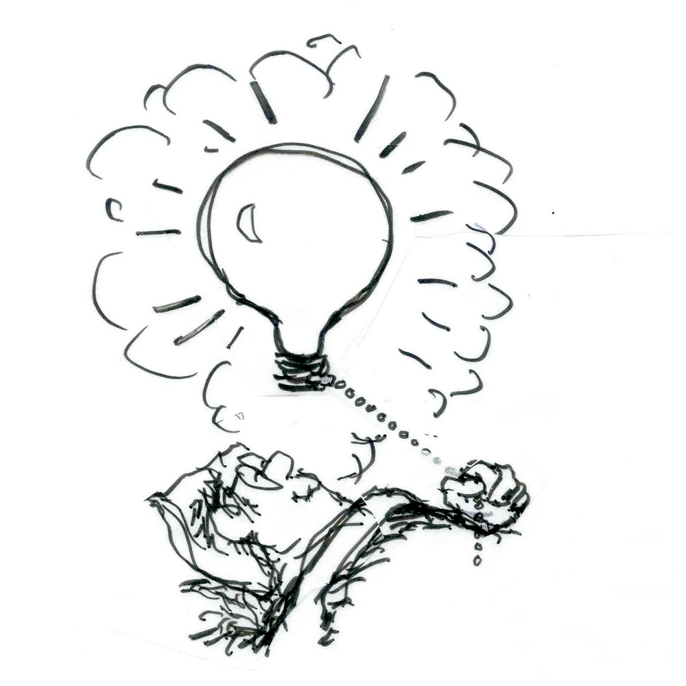 Cartoon of a man sleeping with a cloud above his head featuring a brightly glowing lightbulb. Illustration by Earle Levenstein.
