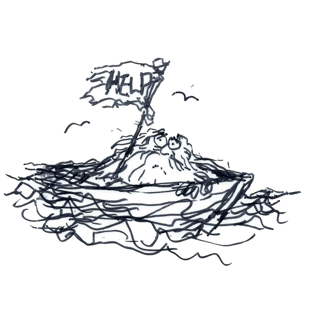"Cartoon illustration of a man in a canoe with a tattered white flag reading ""HELP"" as the waves churn around him. Sketch by Earle Levenstein."