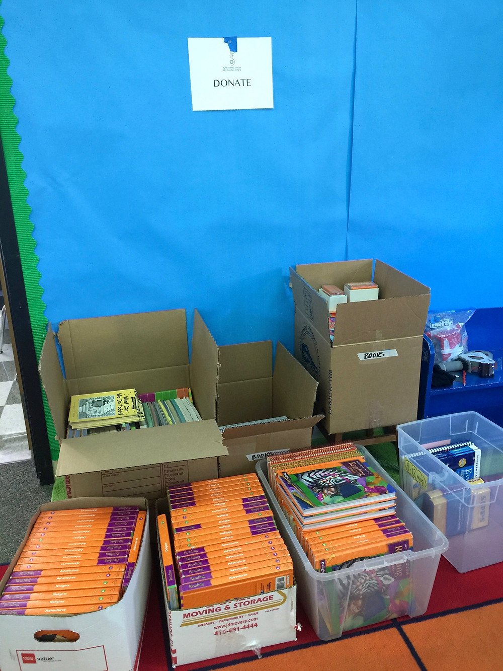 OLWH: Back to School - Organizing a Classroom - supplies to donate to other teachers in boxes and bins, ready to go