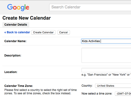 "Taste of My Own Medicine: Top 10 Things to Get Ready for School - Google Calendar new calendar screen with ""Kids Activities"" filled in"