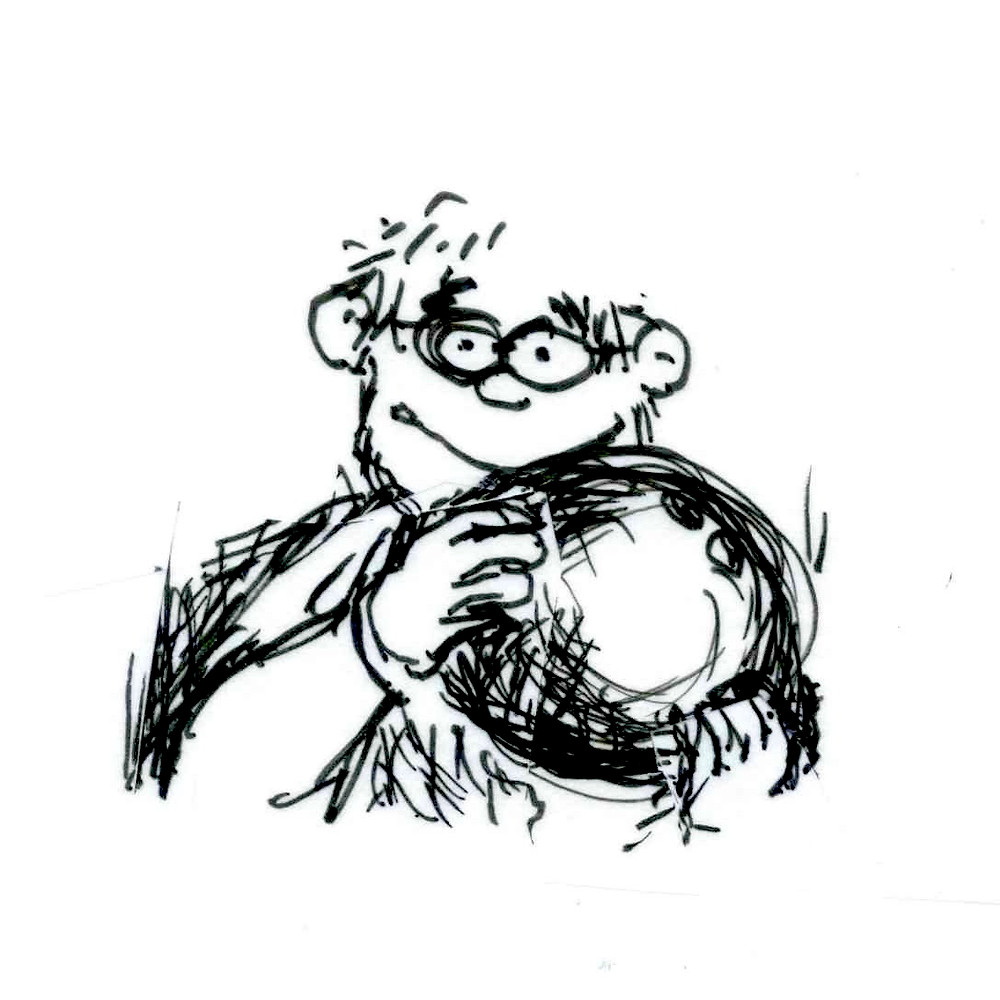 Cartoon sketch of a person wearing glasses holding up a bowling ball. Illustration by Earle Levenstein.
