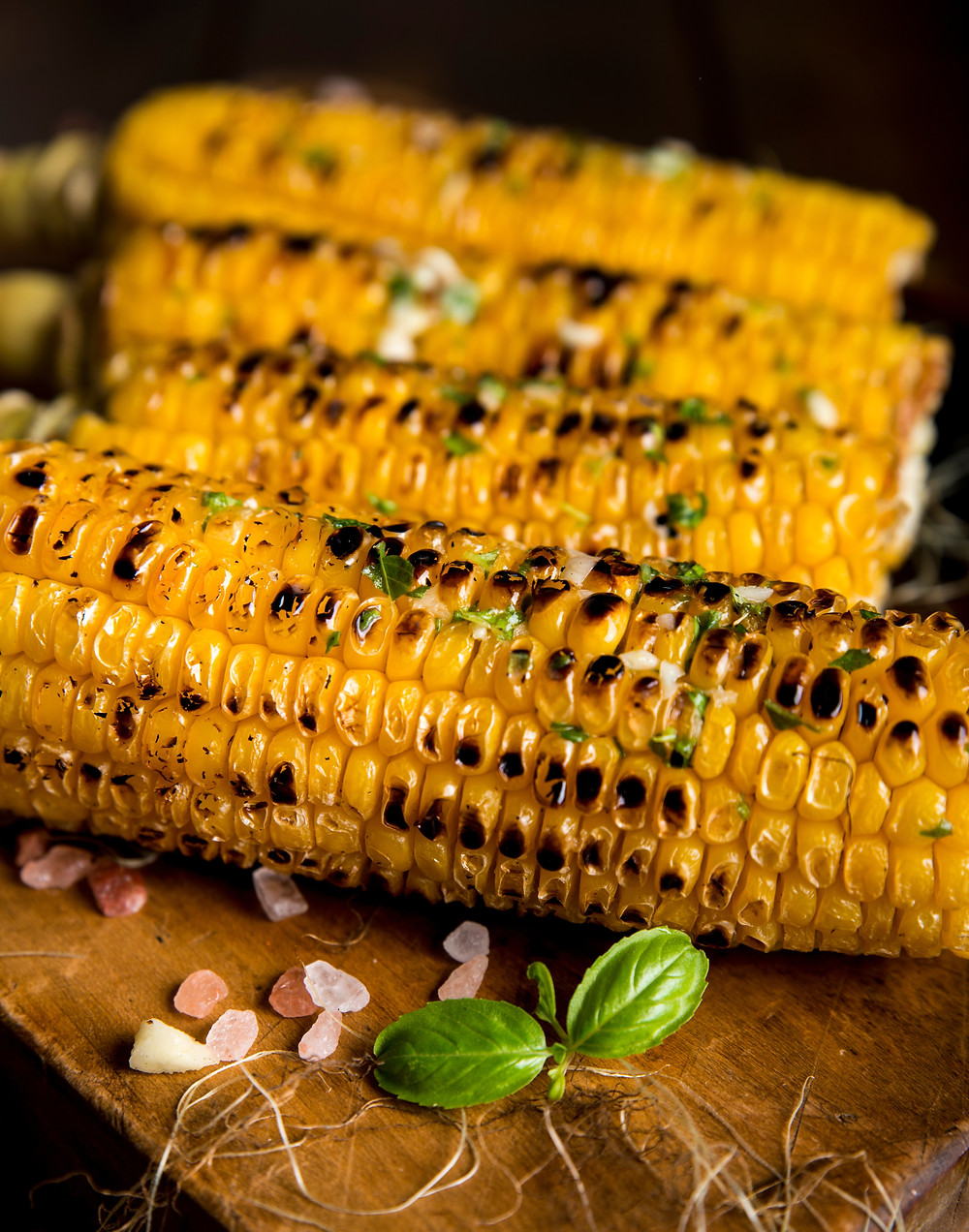 Get Organized for Thanksgiving - Roasted corn on the cob topped with herbs