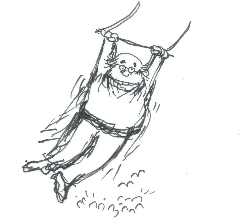 Bald man with glasses swinging from a trapeeze - Cartoon by Earle Levenstein