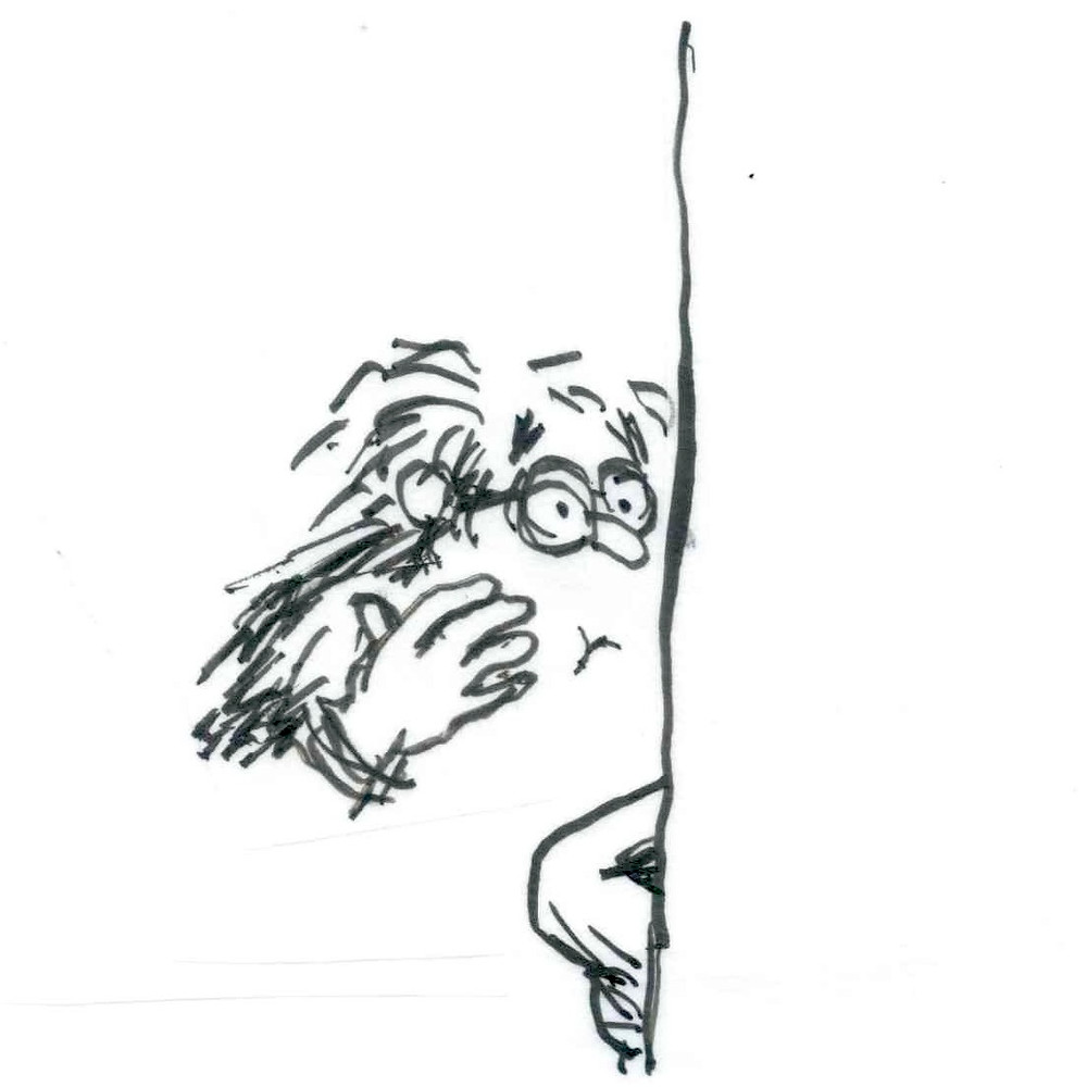 Cartoon sketch of a man looking into a bathroom mirror and touching his face with one hand. Illustration by Earle Levenstein.