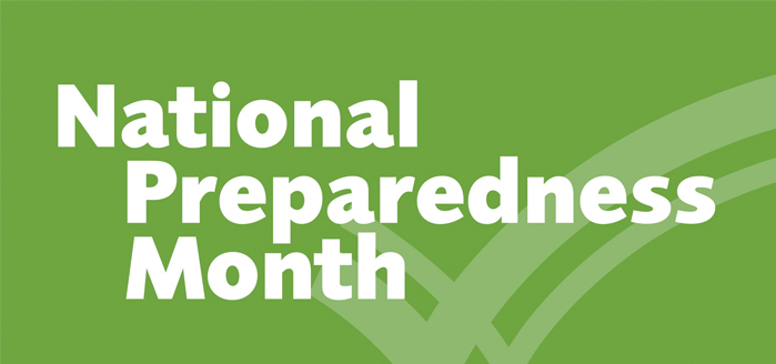 Homage to National Preparedness Month - Green logo with checkmarks in the background